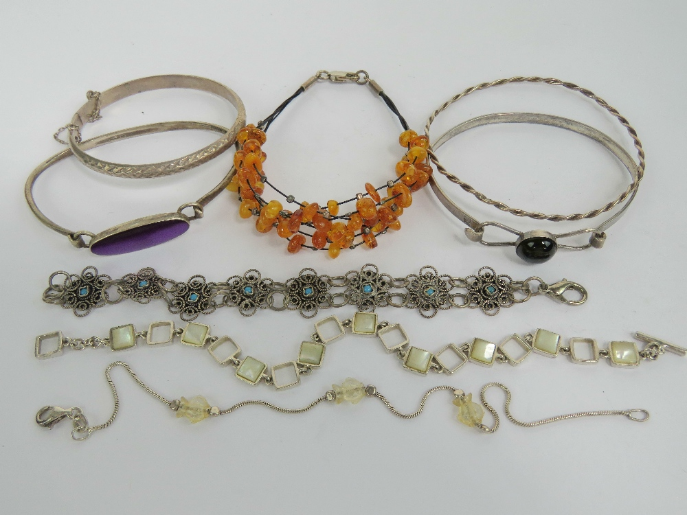 Lot 194 - Eight silver bangles and bracelets; one