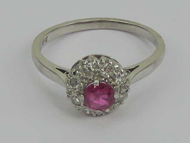 Lot 186 - A platinum and 18ct white gold ruby and