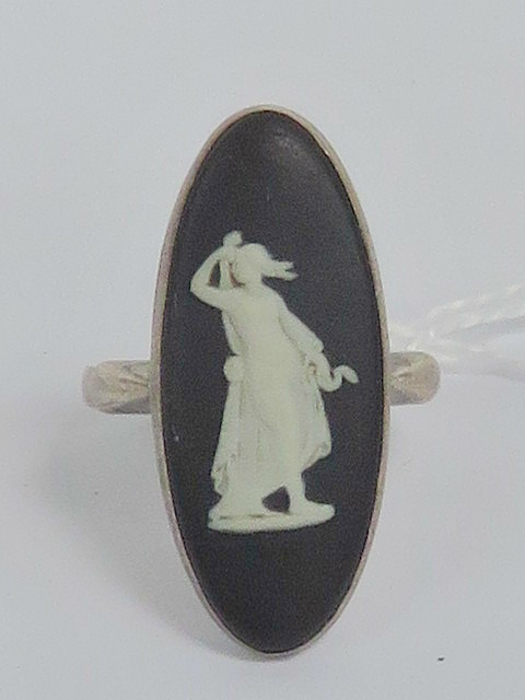 Lot 204 - A HM silver ring having inset marquise s