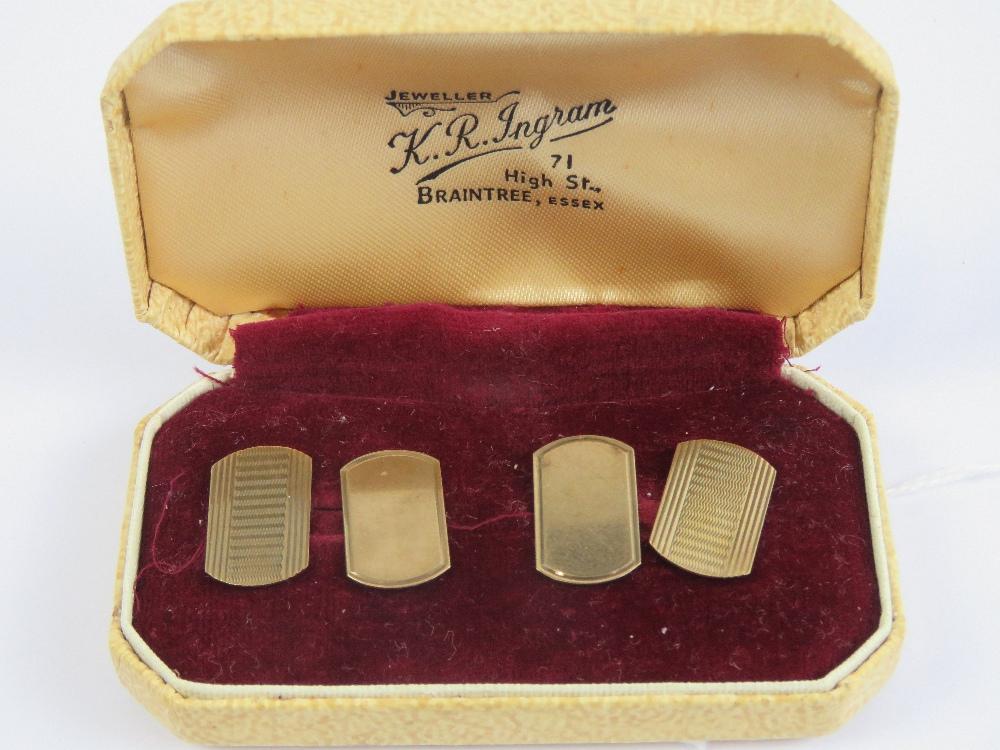 Lot 106 - A pair of 9ct gold cufflinks, hallmarked 375, complete with original presentation box, 4.1g.
