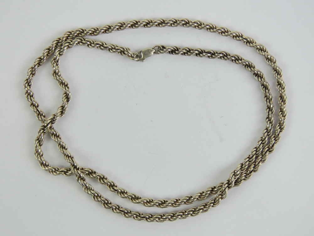 Lot 111 - A heavy HM silver rope twist chain necklace, hallmarked 925, 61cm in length, 29.7g.