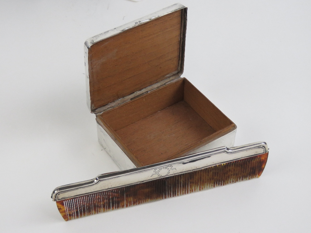 Lot 25 - A two piece desk set comprising HM silver and tortoiseshell lidded cigarette case,