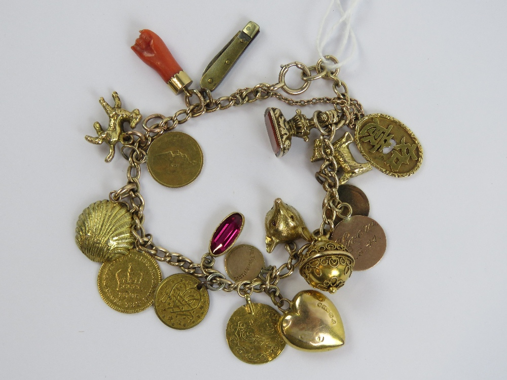 Lot 127 - A 9ct gold charm bracelet, hallmarked 375, and having nineteen charms upon including 'coins',