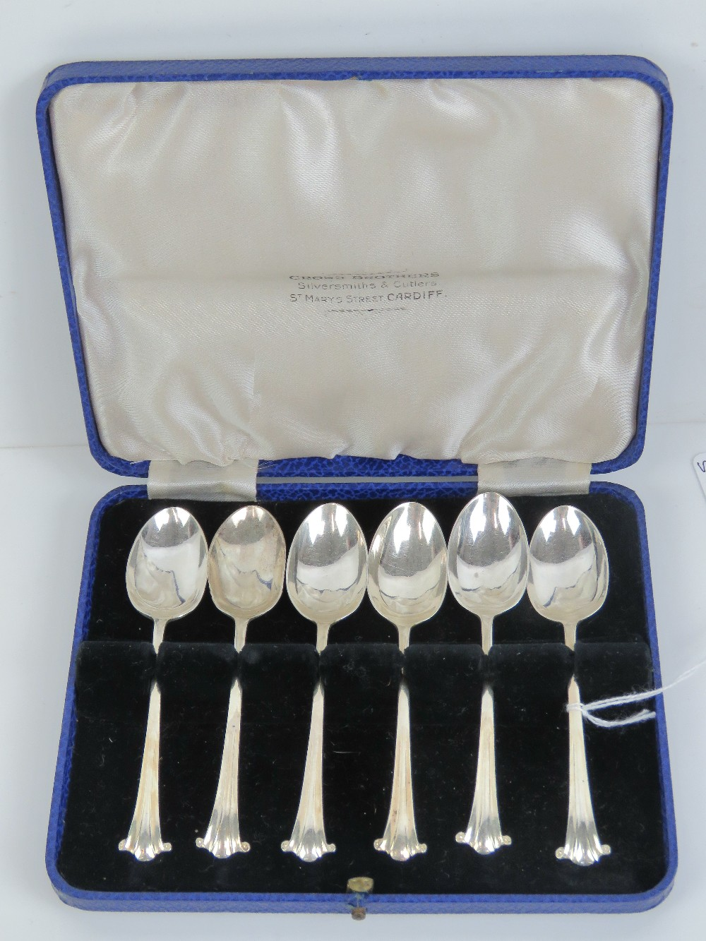 Lot 24 - A set of six HM silver teaspoons in fitted presentation case for Cross Brothers St Marys Street