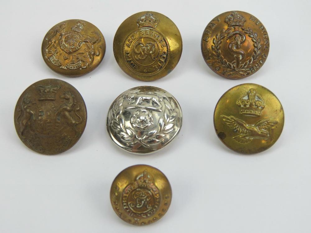 Lot 9 - Seven military buttons being six brass b