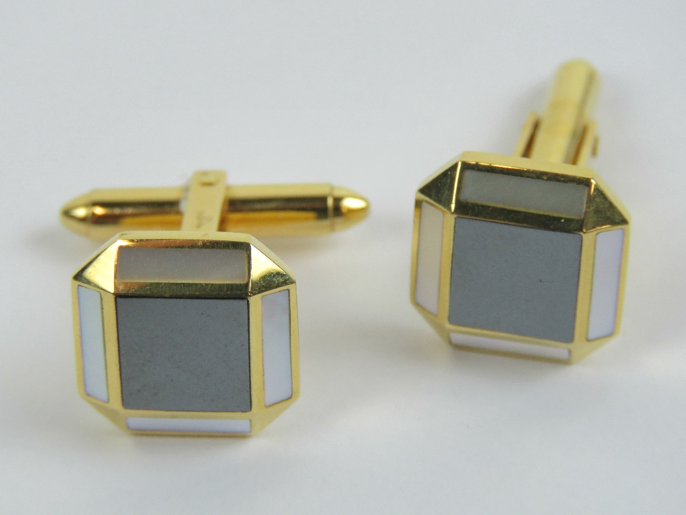 Lot 195 - A pair of 18ct gold hematite and mother