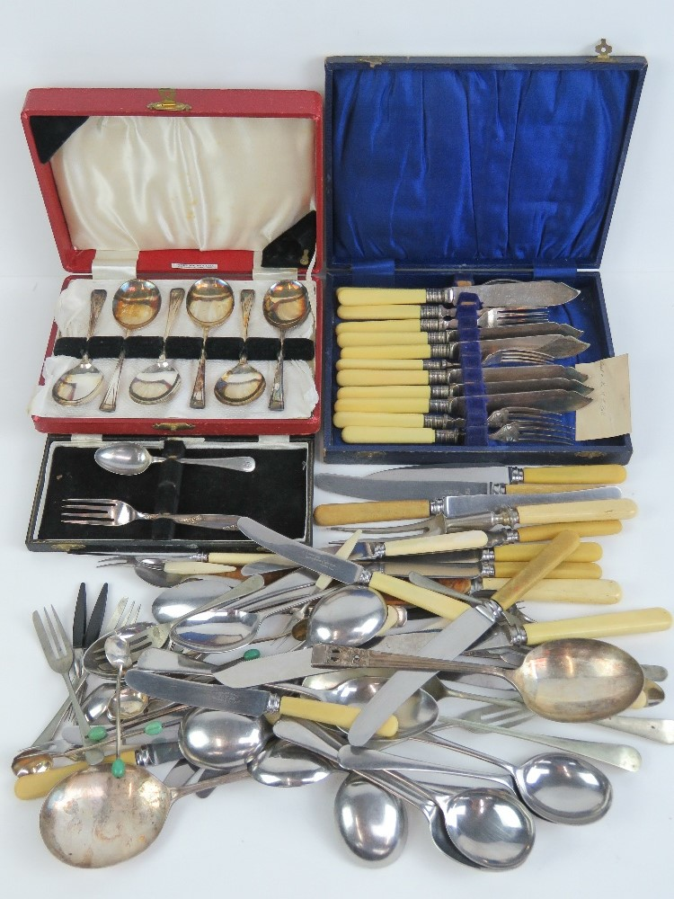 Lot 466 - A quantity of silver plated flatware inc