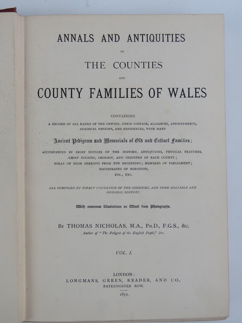 Lot 749 - Books; 'The County Families of the Unite