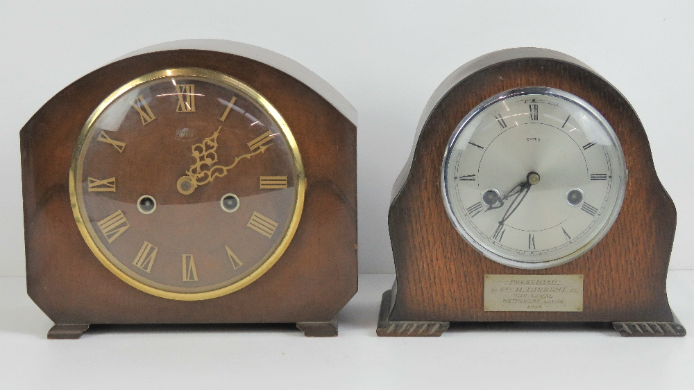 Lot 399 - A Smiths eight day striking mantle clock with presentation plate to 'Brother H Tarrant The Loyal