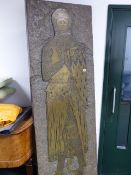 A LARGE 1970'S FINELY DETAILED BRASS RUBBING CAST OF A MEDIEVAL CHURCH BRASS. 212 x 72cms.