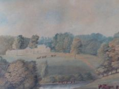 EARLY 19th.C.ENGLISH SCHOOL. VIEW OF AN ENGLISH COUNTRY HOUSE AND PARK, WATERCOLOUR, PEN AND INK,