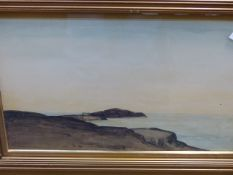 DAVID MURRAY-SMITH. (1865-1952). ARR. NEWQUAY, WATERCOLOUR. 46 x 29cms TOGETHER WITH A
