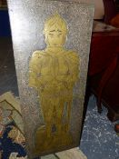 A GROUP OF FIVE 1970'S FINELY DETAILED BRASS RUBBING CASTS OF MEDIEVAL CHURCH BRASSES. LARGEST.