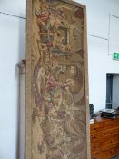 A MACHINE WOVEN TAPESTRY DEPICTING CAVALIERS DRINKING IN AN ARCHED INTERIOR WHILE A LADY DANCES