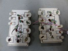 TWO SIMILAR SHIBAYAMA IVORY GAMES MARKERS INLAID WITH FLOWERS AND INSECTS.