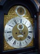 JOHN HALLIFAX, LONDON. AN EBONISED LONG CASE CLOCK, THE BRASS DIAL (30x30cms) WITH STRIKE/SILENT