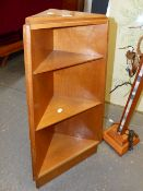 A SMALL G-PLAN TEAK CORNER STAND. H.84cms TOGETHER WITH A MID CENTURY STONE INSET STANDARD LAMP. (
