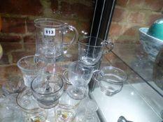 FOUR CUSTARD CUPS, A GEORGIAN GLASS HALF PINT MUG AND AN EDWARD VIII CORONATION MUG. (6)