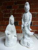 TWO CHINESE BLANC DE CHINE FIGURES.