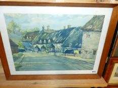 FRED SAWYER. 20th.C.ENGLISH SCHOOL. ARR. THATCHED COTTAGES, SIGNED WATERCOLOUR. 37.5 x 53.5cms.