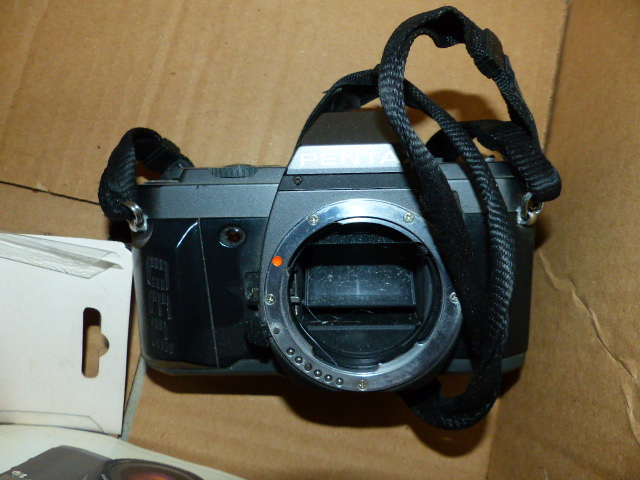 Lot 244 - PENTAX MZ-50 AND P30t CAMERA BODIES WITH BOXED SLIDE COPIER, AUTO BELLOWS AND OTHER ACCESSORIES.