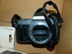 PENTAX MZ-50 AND P30t CAMERA BODIES WITH BOXED SLIDE COPIER, AUTO BELLOWS AND OTHER ACCESSORIES.