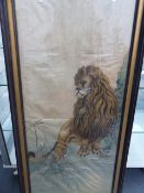 AN ORIENTAL SILKWORK PICTURE OF A GROWLING LION STANDING BY A ROCK FACE, WITHIN GILT AND EBONISED
