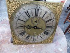 THOMAS SANDERSON , DUBLIN. A MAHOGANY CASED LONG CASE CLOCK, THE SQUARE BRASS DIAL, 34.5 x 34.5