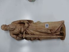 A CARVED RED SANDSTONE FIGURE OF ST PETER STANDING WITH SWORD 52 CM HIGH.