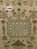 MARY LOCK, HER 1882 SILKWORK SAMPLER WORKED IN BLUE WITH A VERSE ENCLOSED BY BIRDS, FLOWERS AND A