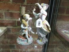 A EUROPEAN PORCELAIN 18th.C.STYLE LADY DANCING WITH A FAN. H.23cms TOGETHER WITH A FIGURAL