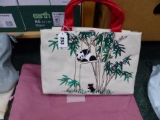A RADLEY NATURALS RANGE GRAB BAG WITH BAMBOO AND PANDAS DECORATION COMPLETE WITH RADLEY CHARM AND