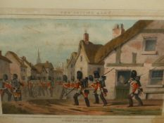 AN ANTIQUE HAND COLOURED PRINT OF SCOTS FUSILLIER GUARDS, ANOTHER OF A BRITISH NAVAL SUBJECT