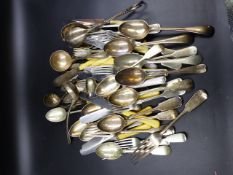 A QUANTITY OF PLATED CUTLERY TOGETHER WITH TWO SILVER TEASPOONS, A SALT AND A FEEDING SPOON.