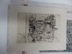 A SMALL COLLECTION OF 19th AND 20th.C. ETCHINGS AND OTHER PRINTS, TO INCLUDE WORKS BY SEYMOUR HADEN,