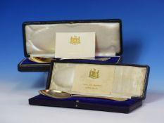 TWO CASED SILVER PRESENTATION TREFID SPOONS, ONE OF BRITANNIA STANDARD BY BARNARD BROS., LONDON 1920