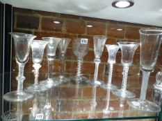 NINE VARIOUS GEORGIAN GLASSES, THE TALLEST AND AIR TWIST ALE. H.20cms. (CHIPS).