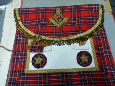 D M GOUDIELOCK Ltd.,GLASGOW. A TARTAN BORDERED MASONIC APRON AND SASH, THE FORMER WITH THE INITIAL