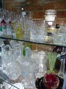 THREE PAIRS OF DECANTERS, OTHERS, PART DRINKING SETS, VASES, BOWLS AND OTHER GLASS. (LARGE QTY.)