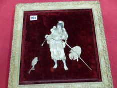 A JAPANESE RED VELVET PANEL INLAID IN IVORY AND MOTHER OF PEARL WITH GAMA SENNIN AND ASSOCIATED