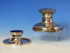 TWO SILVER CAPSTAN INKWELLS, THE LARGER, B'HAM 1907 WITH 1919 INSCRIPTION, Dia.12.5, THE SMALLER,