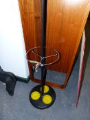 A MID CENTURY RETRO COAT STAND WITH CHROME FITTINGS.