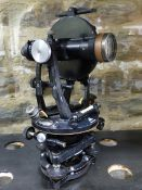 A VINTAGE MAHOGANY CASED SURVEYOR'S LEVEL THEODOLITE BY R.WATTS, LONDON TOGETHER WITH AN