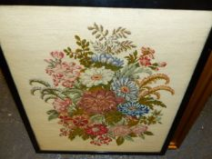 TWO VICTORIAN FRAMED NEEDLEPOINT PANELS, THE HUNTSMAN AND SUMMER FLOWERS. (2)