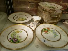 A MINTON'S DESSERT SEVICE, INDISTINCT DATECODES c.1881, PAINTED WITH PATTERN No.B3211 OF FLOWERS