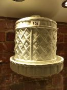 A COPELAND WICKER MOULDED WHITE POTTERY CHEESE DISH AND COVER FAINTLY IMPRESSED WITH THE DATE OF