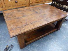A BESPOKE OAK LOW TABLE WITH UNDERTIER. W.121 x H.26cms.