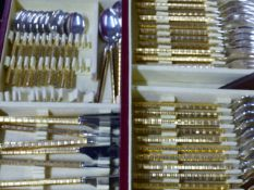 HENRI JEAN FRANCOIS. A SILVER PLATED AND GILT PART CUTLERY SERVICE FOR TWELVE CONTAINED IN A