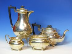 A SILVER HALLMARKED FOUR PART TEA/COFFE SET, DATED 1929, FOR JAMES DEAKIN AND SONS. GROSS WEIGHT
