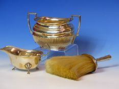 A SILVER CREAMER DATED 1935, A SILVER SUGAR BOWL DATED 1902 FOR ROBERT PRINGLE AND SONS AND A MAPPIN